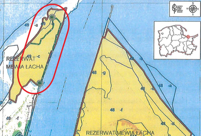 Pieszy szlak w rezerwacie Mewia Łacha